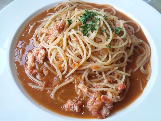 洋麺処ピエトロ光の森店で蟹と蟹味噌のスパゲティーいただきました