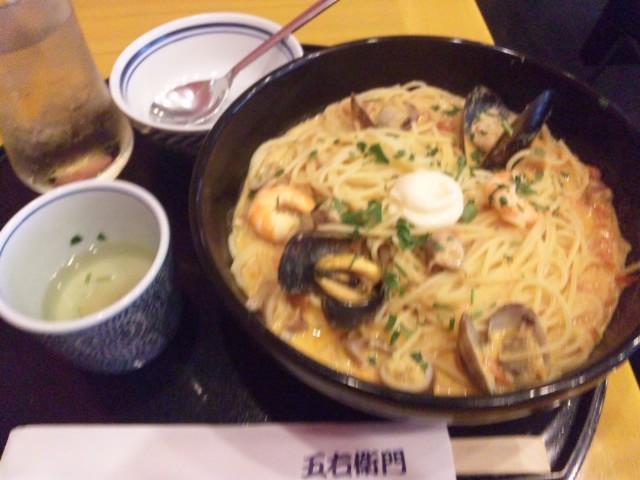 地中海風えびとアサリのスープスパゲティーいただきました